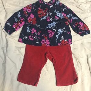 Baby Gap girls Floral Top & red pants outfit set